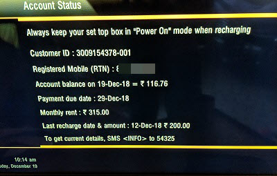 Check Airtel DTH balance validity