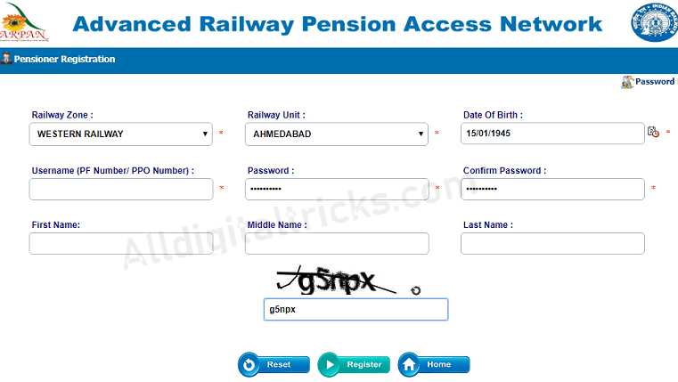 ARPAN railway pension registration