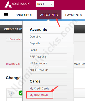 axis Debit card activate International usage