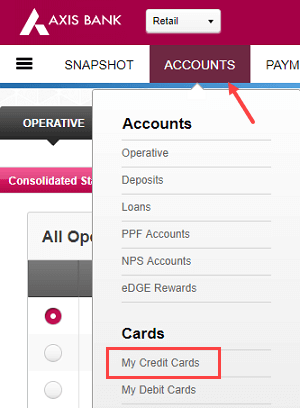 axis bank credit card net banking