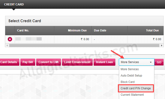 Generate Axis Bank credit card pin
