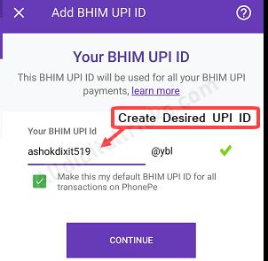 PhonePe Create UPI ID