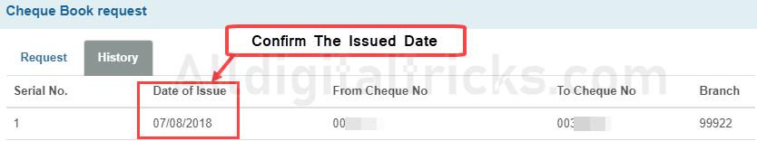 SBI ChequeBook Status