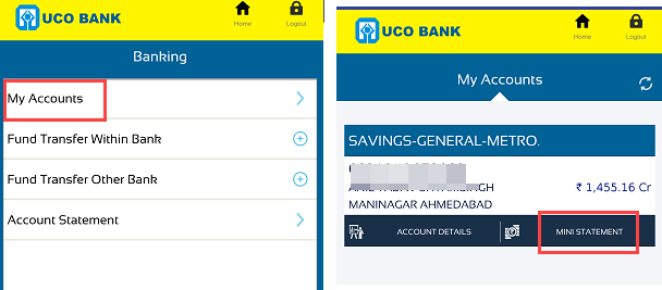 UCO Bank Mini Statement