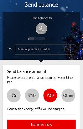 Vodafone Balance Transfer, Share Talk time, send Balance