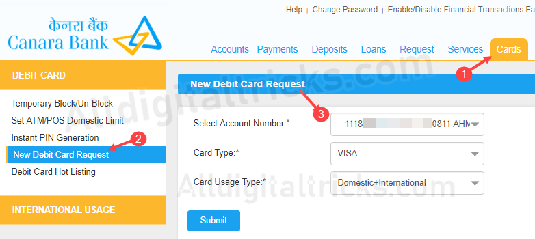 apply Canara Bank Debit card online