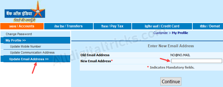 Register/Change Email Address in Bank of India (BOI) Online