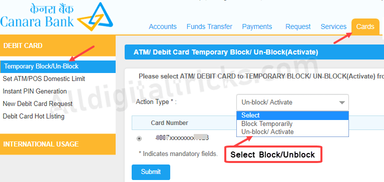 Block Unblock Canara Bank ATM Debit card