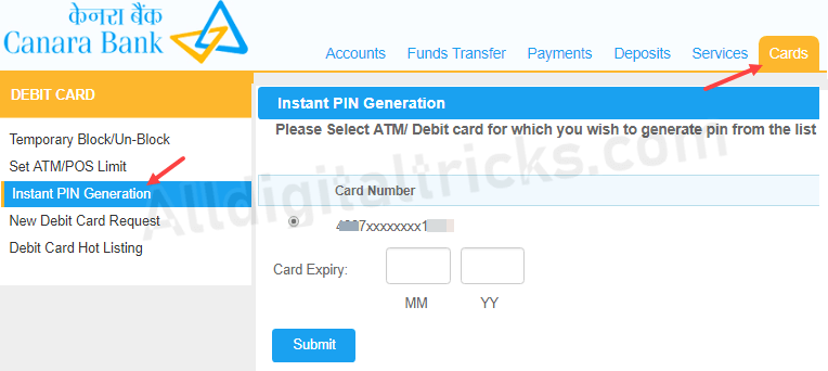 Canara Bank ATM Pin generation online