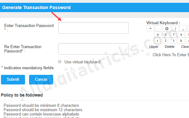 Generate Transaction Password for Canara Bank Net Banking