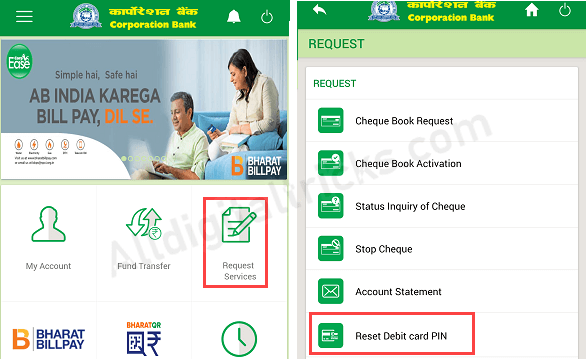 Corporation Bank Change/Generate ATM Pin Online