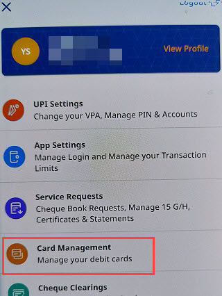 Federal Bank Card management