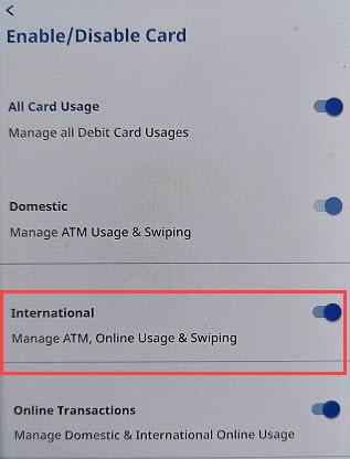 federal bank debit card international usage