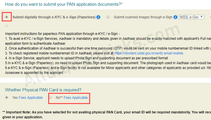 pan card mobile email change/update online