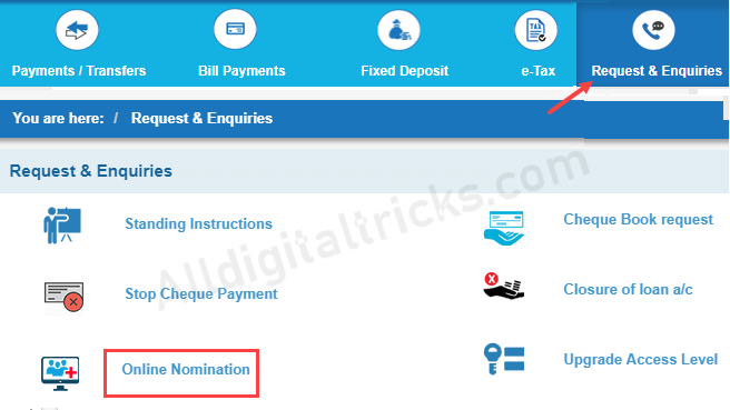 Add nominee online SBI, Online nomination register SBI
