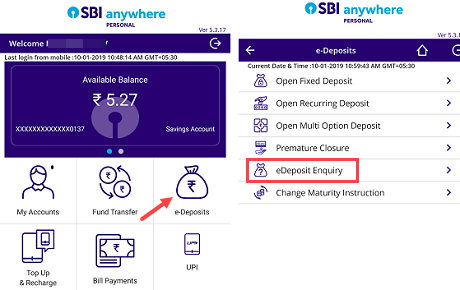 check sbi MOD balance statement