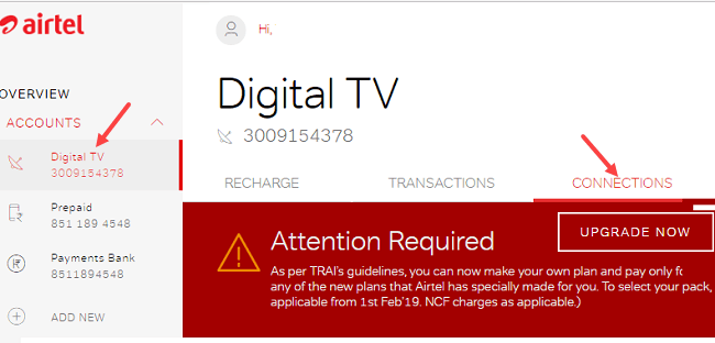 elect Channels in Airtel DTH & Create New Pack