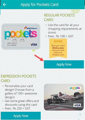 Apply Pockets Physical Card Online