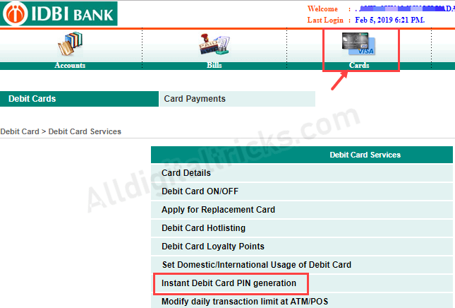 IDBI ATM PIN change generate online
