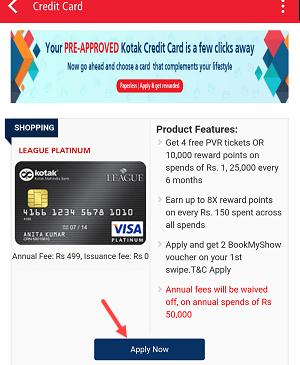 Kotak Pre-approved Credit Card Online