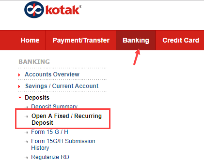 Open RD Online in Kotak Bank