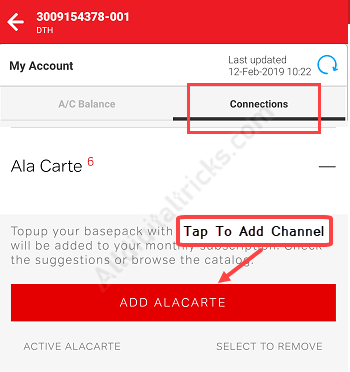 Add/Remove Channel in Airtel DTH Pack (Ala-Carte Channel)
