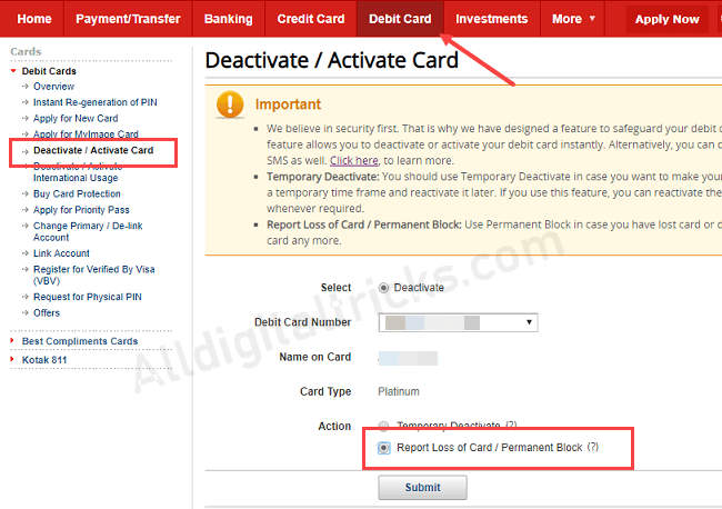 Permanent Block Kotak Bank Debit Card