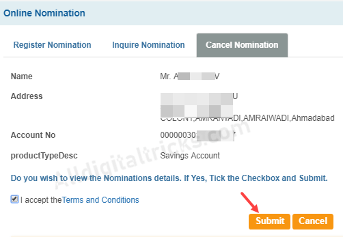 Cancel/Remove Nominee in SBI Online | Cancel Nomination