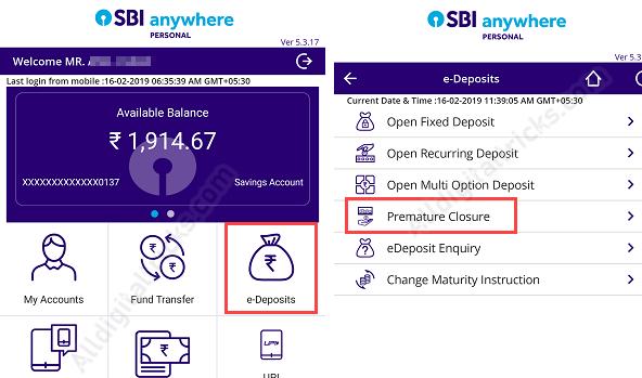Close SBI RD Online