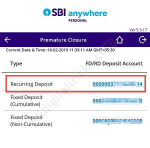 Close SBI RD Online