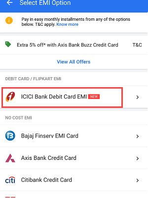 ICICI Debit card EMI