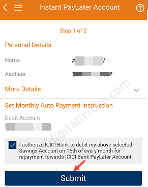 PayLater on ICICI iMobile
