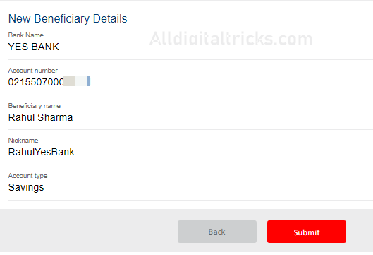 Add Beneficiary in Kotak