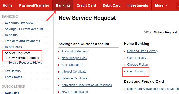 Kotak Bank Cash Pickup
