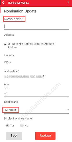 Kotak Bank Register Nominee/Nomination