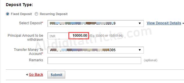 Kotak Fixed Deposit FD premature Withdraw