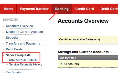 Kotak Bank Service request