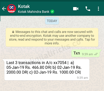Kotak WhatsApp Banking check statement
