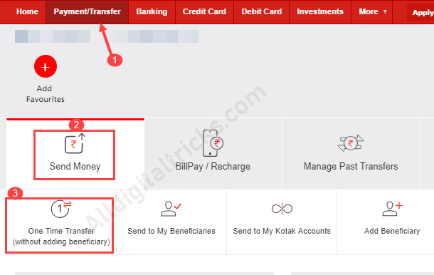 Kotak Bank - Money Transfer Without Adding Beneficiary