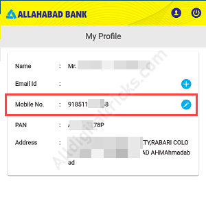 ChangeRegister Mobile Number in Allahabad Bank Online
