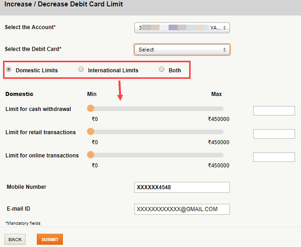 modify change ICICI Debit card limit