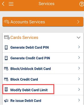 modify change ICICI Debit card limit