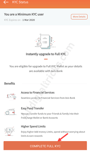 Axis Bank Customer Complete FreeCharge Full KYC Online