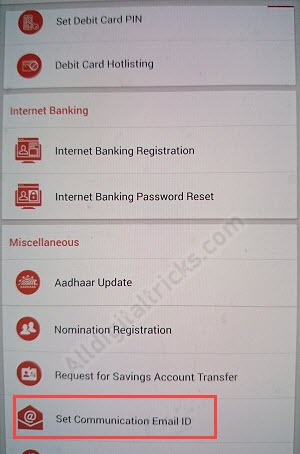 BOB Email ID RegistrationUpdate online