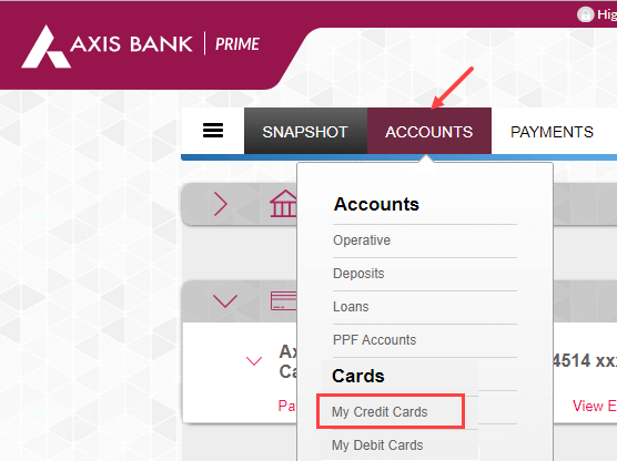 Check Axis Bank Credit Card Limit online