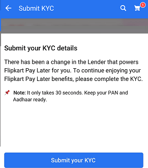 Flipkart Pay Later KYC