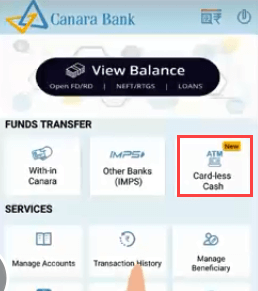 Canara Cardless cash withdraw from ATM