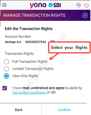 sbi online banking transaction rights application