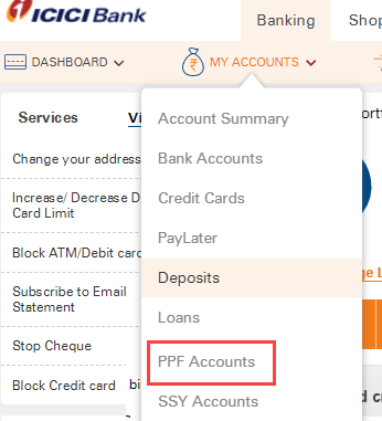 Add Funds Online in ICICI PPF Account