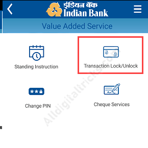 Indian Bank Online Transaction Lock/Unlock